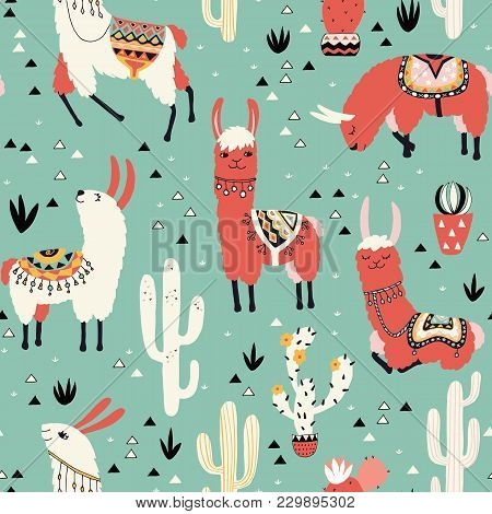 Llamas And Cactus In A Pot On Green Background. Seamless Pattern With Lovely Llamas, Flowers And Cac