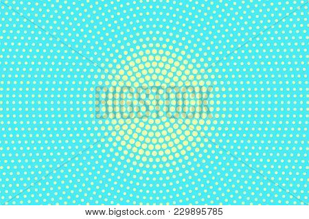 Turquoise Yellow Dotted Halftone. Rough Centered Dotted Gradient. Half Tone Vector Background. Artif