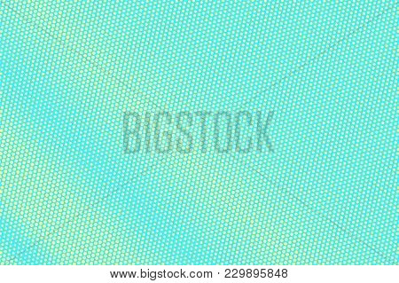 Turquoise Yellow Dotted Halftone. Regular Subtle Dotted Gradient. Half Tone Vector Background. Artif