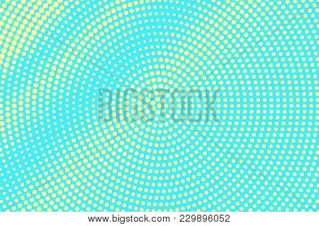 Turquoise Yellow Dotted Halftone. Radial Grunge Dotted Gradient. Half Tone Vector Background. Artifi