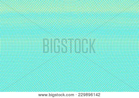 Turquoise Yellow Dotted Halftone. Grunge Rough Dotted Gradient. Half Tone Vector Background. Artific