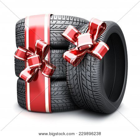 Gift Tires And Ribbon Red On White Background. 3d Illustration