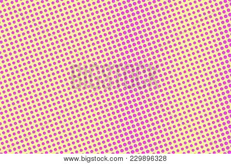 Yellow Pink Dotted Halftone. Rough Vertical Dotted Gradient. Half Tone Vector Background. Artificial