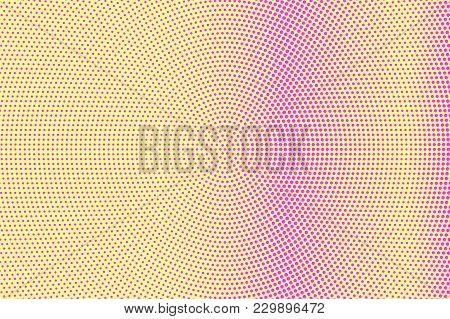 Yellow Pink Dotted Halftone. Radial Subtle Dotted Gradient. Half Tone Vector Background. Artificial
