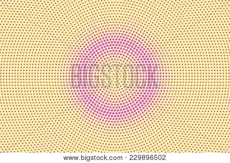 Yellow Pink Dotted Halftone. Round Rough Dotted Gradient. Half Tone Vector Background. Artificial Te