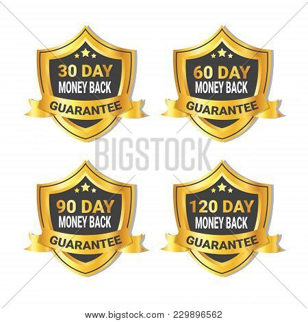 Set Of Golden Shield Stickers Money Back Guarantee Label With Ribbon Isolated Vector Illustration