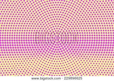 Yellow Pink Dotted Halftone. Radial Frequent Dotted Gradient. Half Tone Vector Background. Artificia