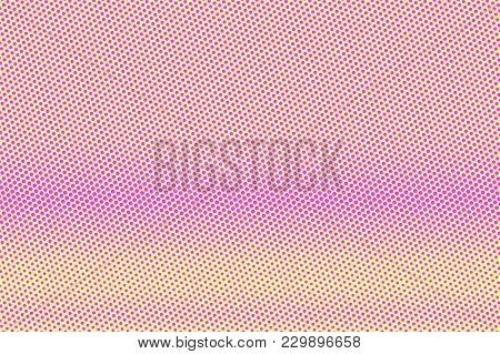 Yellow Pink Dotted Halftone. Horizontal Frequent Dotted Gradient. Half Tone Vector Background. Artif
