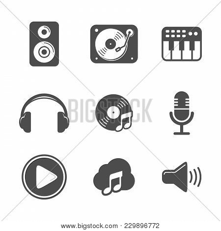 Audio Icon Set Black Version Vector Symbol Graphic Logo Design