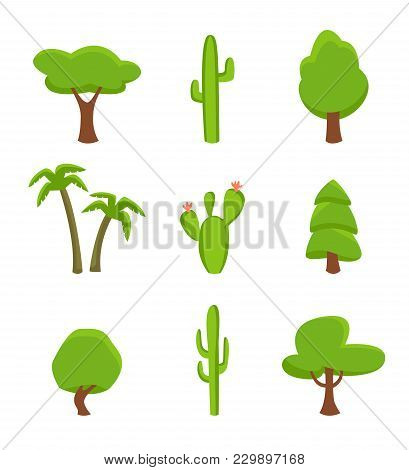 Green Plant Set Isolated On White Background Illustration. Desert Cactus, Tropical Palm, Forest Tree