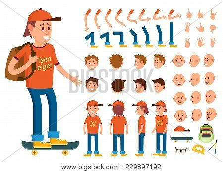 Teenager Character Creation Set Isolated Illustration. Boy Constructor With Various Gesture, Emotion