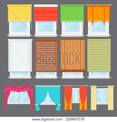Detailed Window Set Isolated Illustration. Architectural Details, Window Treatments, Interior Elemen
