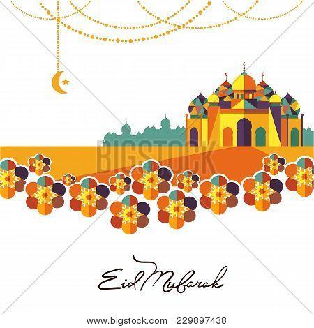 Eid Mubarak Greeting Card Illustration. Muslim Festival Celebration Poster, Islamic Holiday Poster W