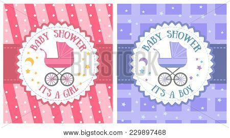 Baby Shower Party Invitation Template Set Illustration. Holiday Banner With Baby Carriage, Happy Bir
