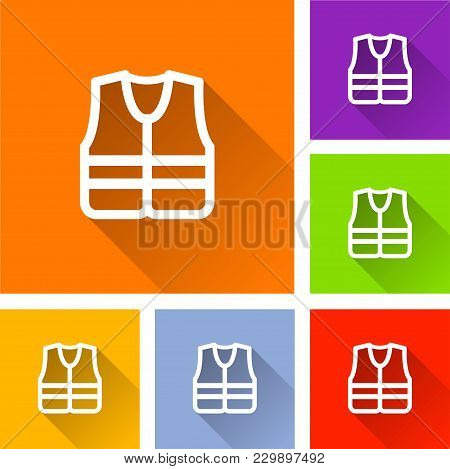 Illustration Of Safety Jacket Icons With Shadow