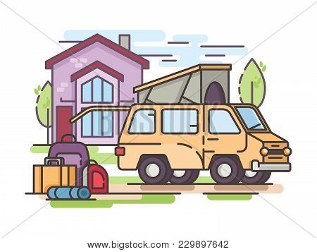 Collect Things For Recreation Or Transfer To Large Van. Vector Illustration