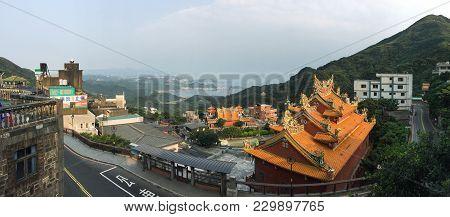 Jiufen, Taiwan - Mar 19, 2015. Aerial View Of Jiufen Township. Jiufen Is A Mountain Town In Northeas