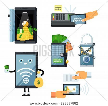 Mobile Payment Set Isolated Illustration. Pos Terminal Confirm, Nfc Payment, Money Transferring Via