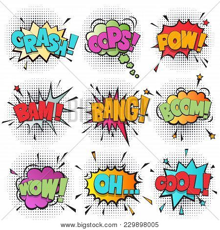 Comic Speech Bubble Cartoon Set Isolated On White Background Illustration. Sound Effects: Pow, Oh, B