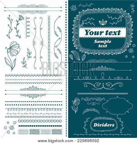 Vintage Hand Drawn Divider Lines Set Isolated Illustration. Retro Collection Of Page Divider, Border
