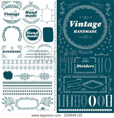 Vintage Hand Made Divider Lines Set Isolated Illustration. Retro Collection Of Page Divider, Border,