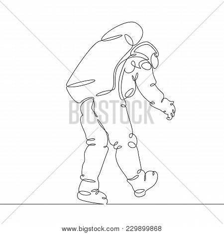 Continuous Single Drawn One Line Astronaut, Astronaut In Space