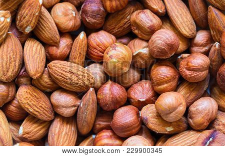 Nuts Pile Background. Cashew, Almond, Hazelnut Mix Closeup. Organic Food Rustic Banner Template. Tas