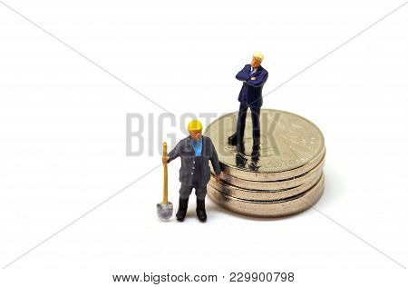 White Collar And Blue Collar Worker Figurine On White Background. Low And High Paid Job. Office Mana
