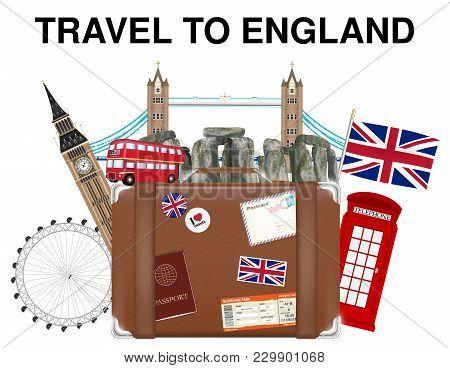Travel To England Suitcase Bag With England Landmark