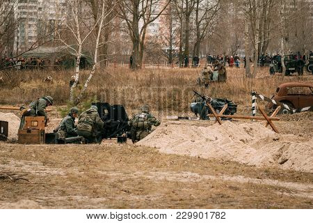 Gomel, Belarus - November 26, 2016: Soldiers Of The German Wehrmacht Of The Second World War In The