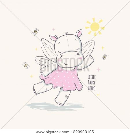 Little Fairy Hippo. Vector Illustration For Kids. Use For Print Design, Surface Design, Fashion Kids