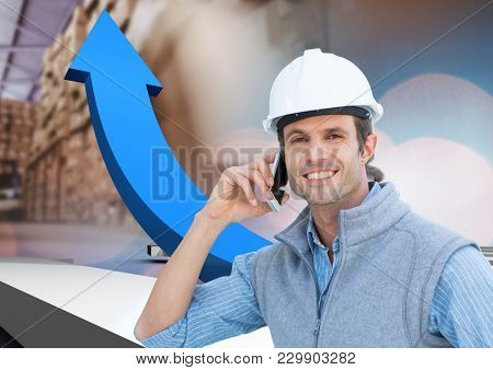 Digital composite of man with box in warehouse, transition an arrows