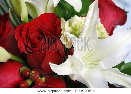 Bunch Of Flowers, Red Roses And White Lys