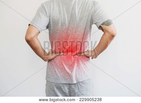 A Man Touching Back, With Red Highlight Concept Of Back Pain, Backache And Waist Pain, On White Back