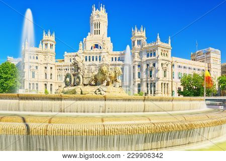 Fountain Of The Goddess Cibeles And Cibeles Center Or  Palace Of