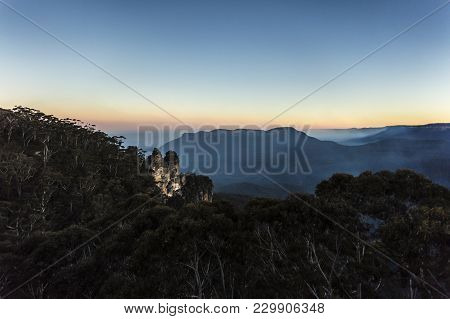 The Three Sisters Are An Unusual Rock Formation In The Blue Mountains Of New South Wales, Australia,