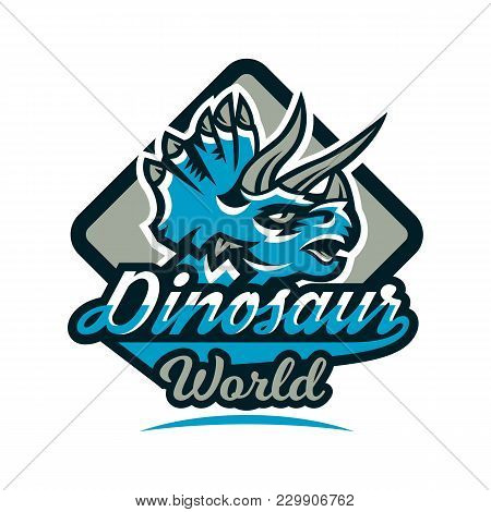 Colorful Emblem, Logo, Dinosaur Of The Jurassic Period. Triceratops, Badge, Shield. Vector Illustrat