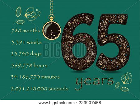 Floral Card Number Sixty Five And Pocket Watch