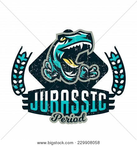 Design For Printing On A T-shirt Isolated On A White Background, Dinosaur Of The Jurassic Period. Am