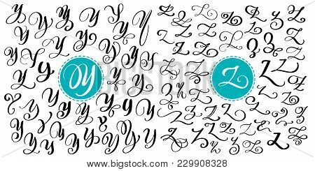 Hand Drawn Vector Calligraphy Letter Y, Z. Script Font. Isolated Letters Written With Ink. Handwritt