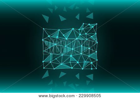 A File Folder Of Lines And Triangles, A Network Connection Point On A Blue Background. A Scattering