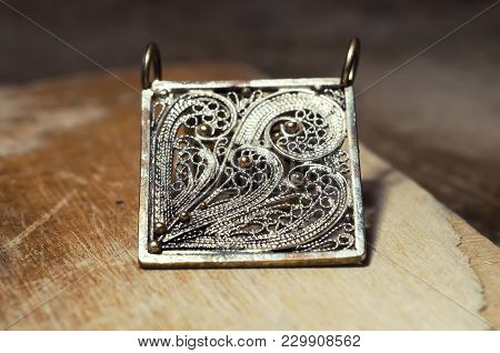 The Work Of Jewelers. Trial Jewelry Of Semiprecious Metals. Brooch Square Shape. Selective Focus. Ma