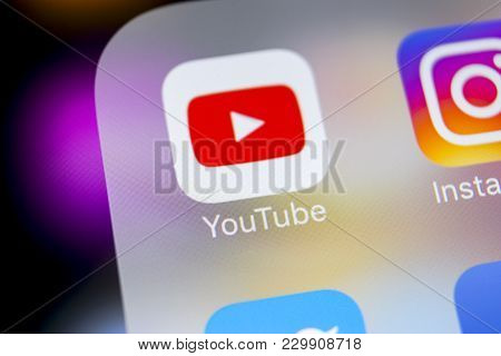 Sankt-petersburg, Russia, March 7, 2018: Youtube Application Icon On Apple Iphone X Smartphone Scree