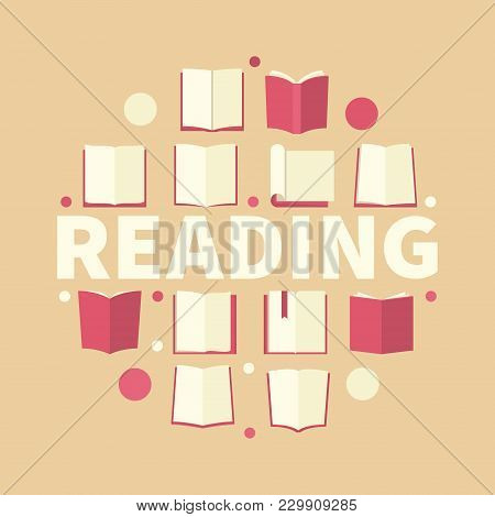 Reading Creative Round Vector Illustration Made With Flat Red Book Icons