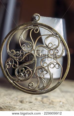 The Work Of Jewelers. Trial Jewelry Of Semiprecious Metals. Round Brooch. Selective Focus. Macro Pho