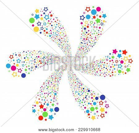 Multi Colored Confetti Stars Centrifugal Flower With Six Petals. Psychedelic Cluster Combined From R