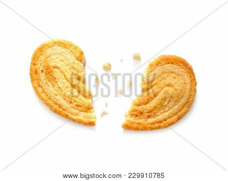 Broken Hearted Cookie Isolated On White Background
