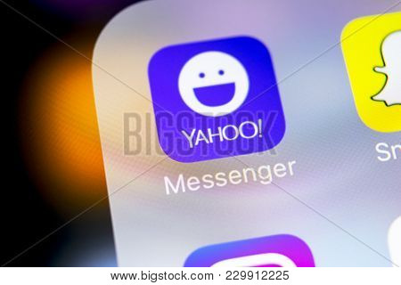 Sankt-petersburg, Russia, March 7, 2018: Yahoo Messenger Application Icon On Apple Iphone X Smartpho