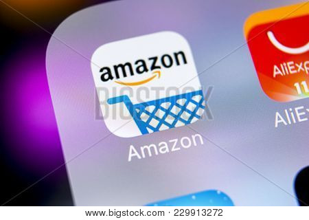 Sankt-petersburg, Russia, March 7, 2018: Amazon Shopping Application Icon On Apple Iphone X Screen C