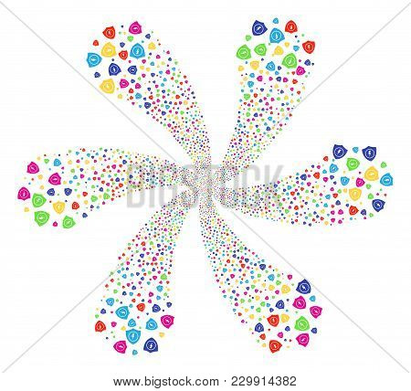 Multicolored Electric Guard Cyclonic Flower Shape. Hypnotic Burst Designed From Random Electric Guar